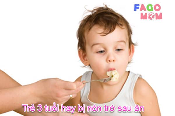 [Trẻ 3 tuổi hay bị nôn trớ sau ăn] Nguyên nhân và cách xử lý